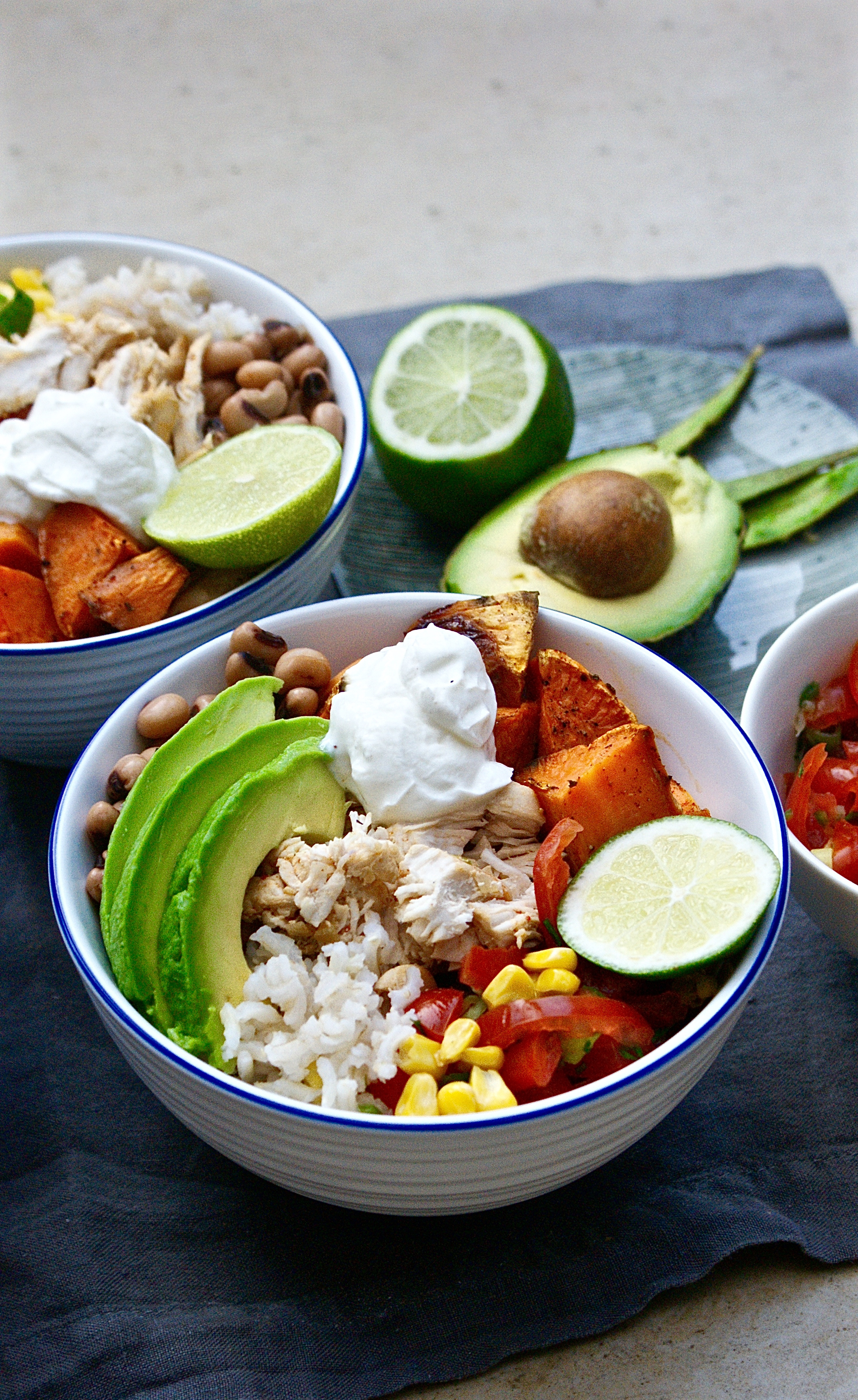 Top With The Warm Chicken Sweet Potatoes Beans And Sweetcorn Bring The Salsa The Yoghurt Sliced Avocado And More Lime To The Table So That People Can