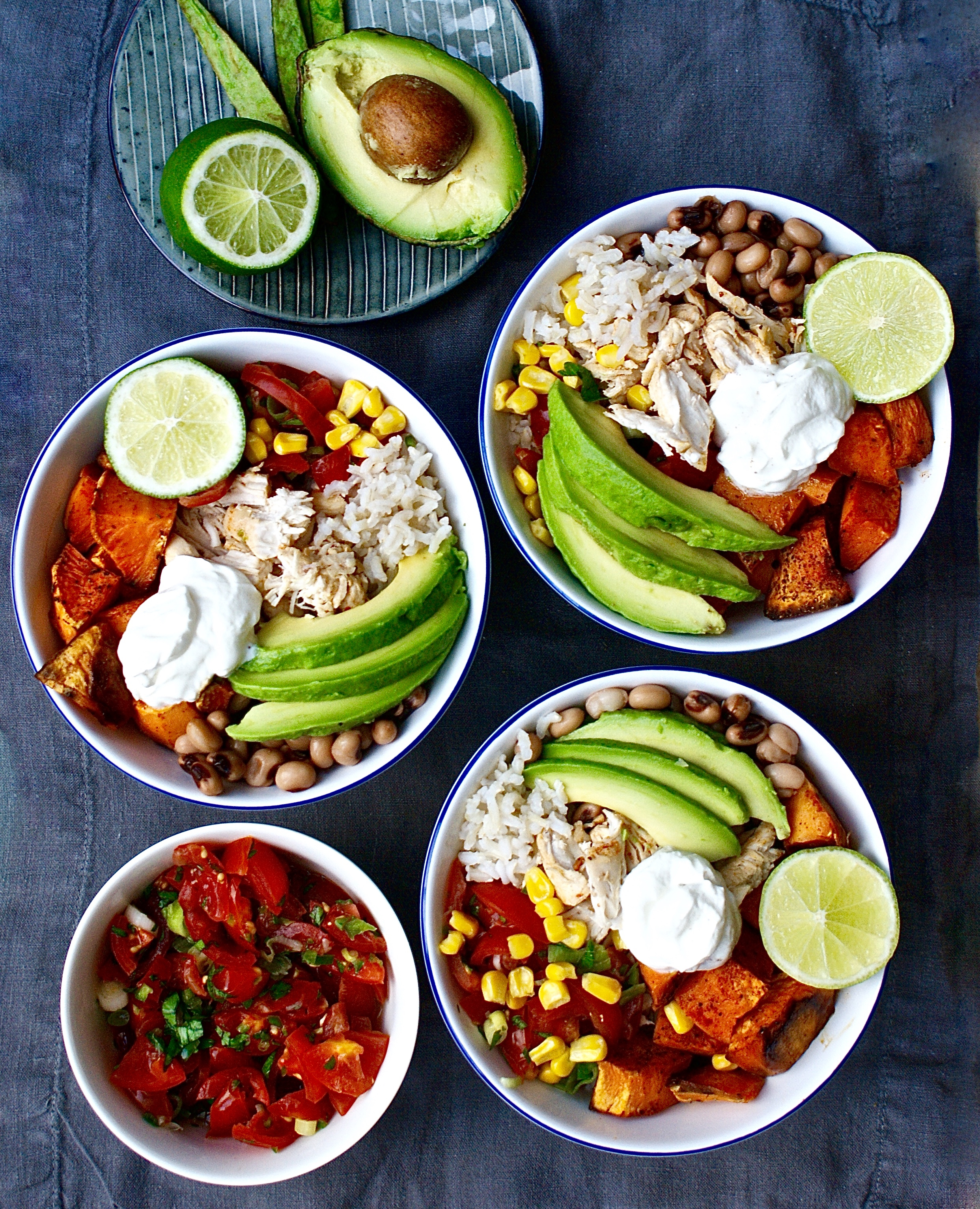 Mexican Burrito Rice Bowls With Shredded Chipotle Chicken Sweet Potato Beans Salsa And Avocado Dressing