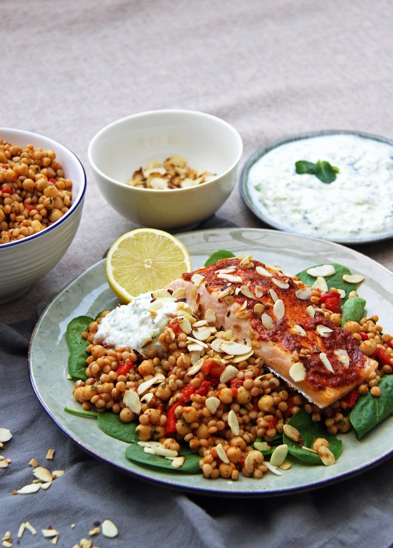 harissa-roasted-salmon-with-moroccan-spiced-giant-couscous-chickpeas-toasted-almonds-and-tzatziki-2