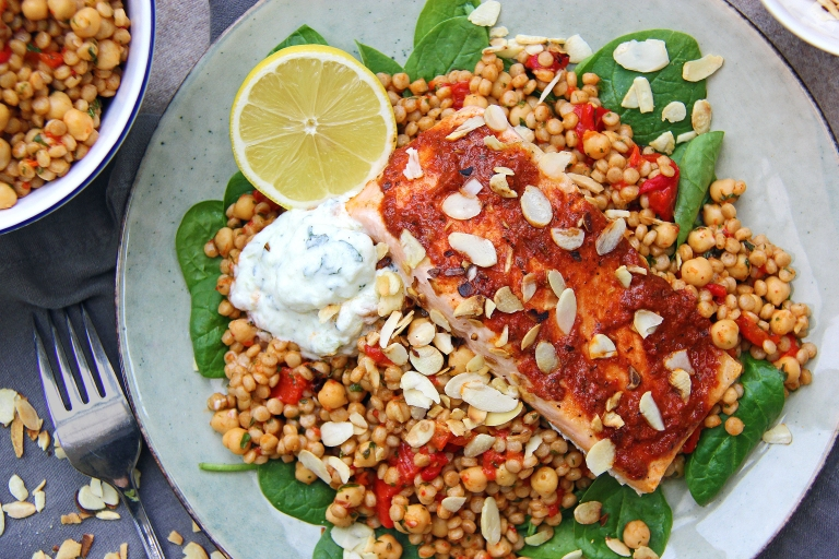 harissa-roasted-salmon-with-moroccan-spiced-giant-couscous-chickpeas-toasted-almonds-and-tzatziki-4