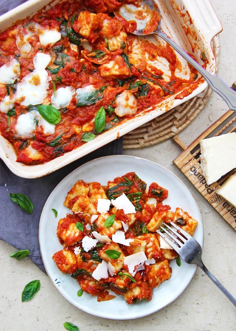 ricotta gnocchi with classic tomato basil sauce mozzarella and Parmesan cheese healthy 4