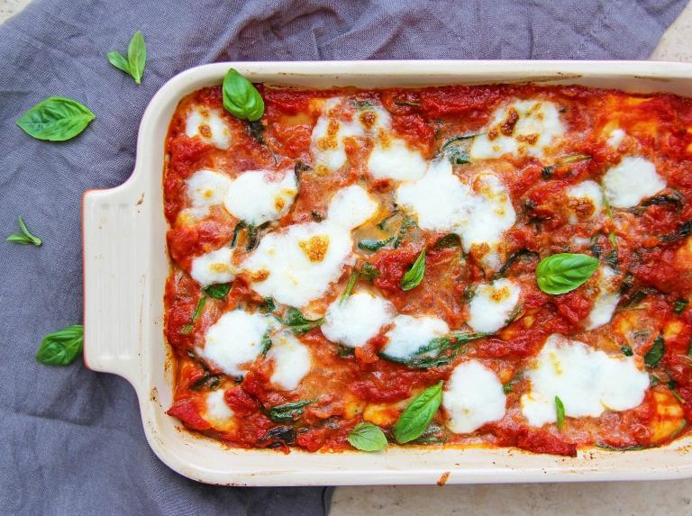 ricotta gnocchi with classic tomato basil sauce mozzarella and Parmesan cheese healthy