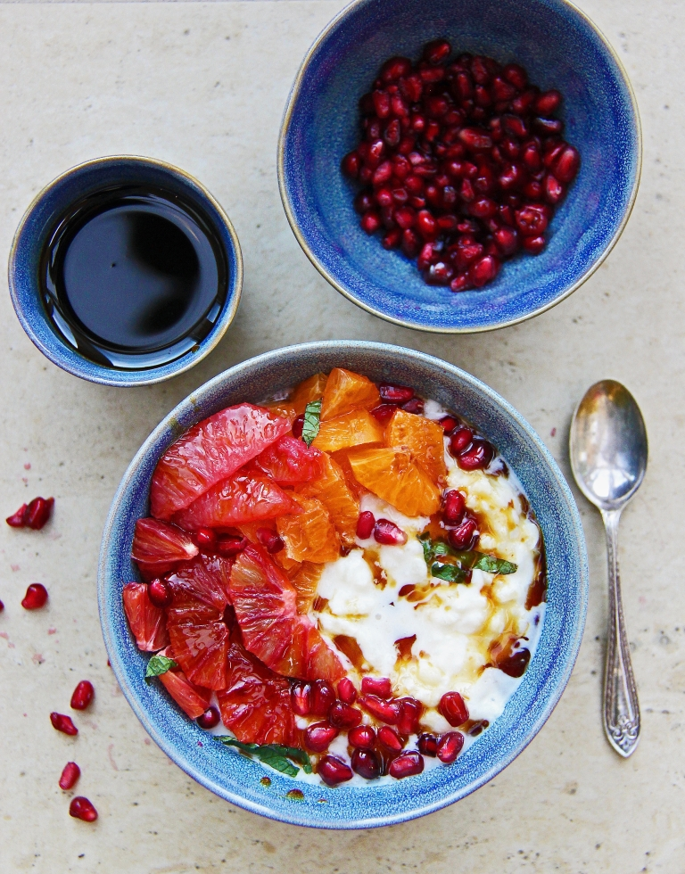dairy free vegan Almond milk and cardamom rice pudding with blood orange, grapefruit and pomegranate molasses gluten free 4