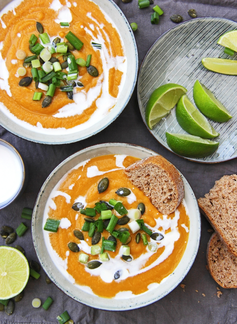 roasted sweet potato and carrot soup with ginger and miso vegan 4