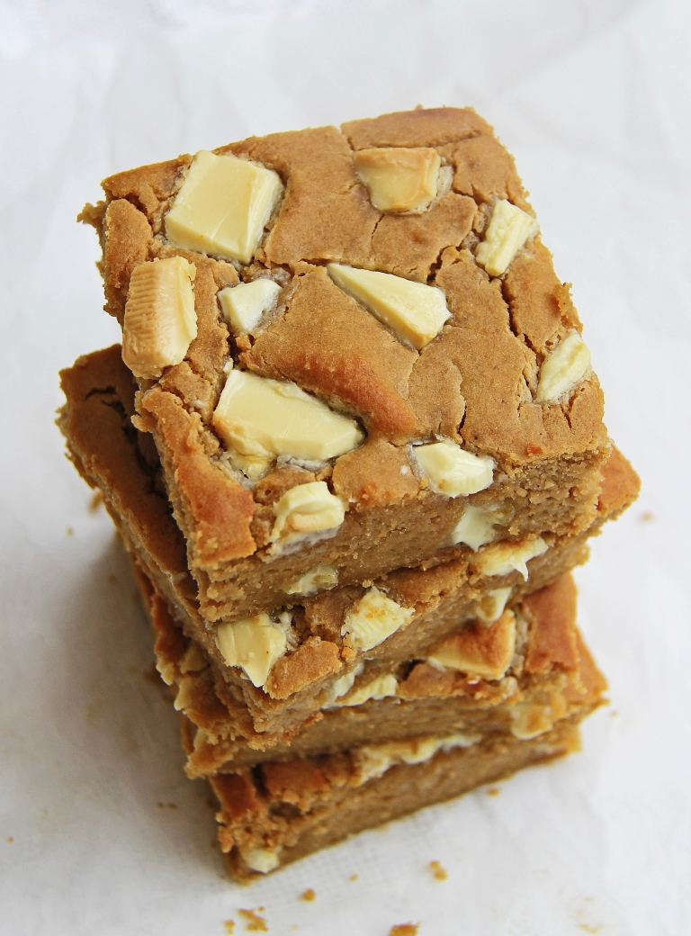 White chocolate, cashew butter, tahini and white bean blondies gluten free 2