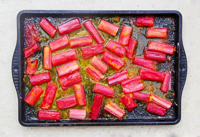 Roasted rhubarb with sticky orange and ginger sauce healthy breakfast dessert vegan