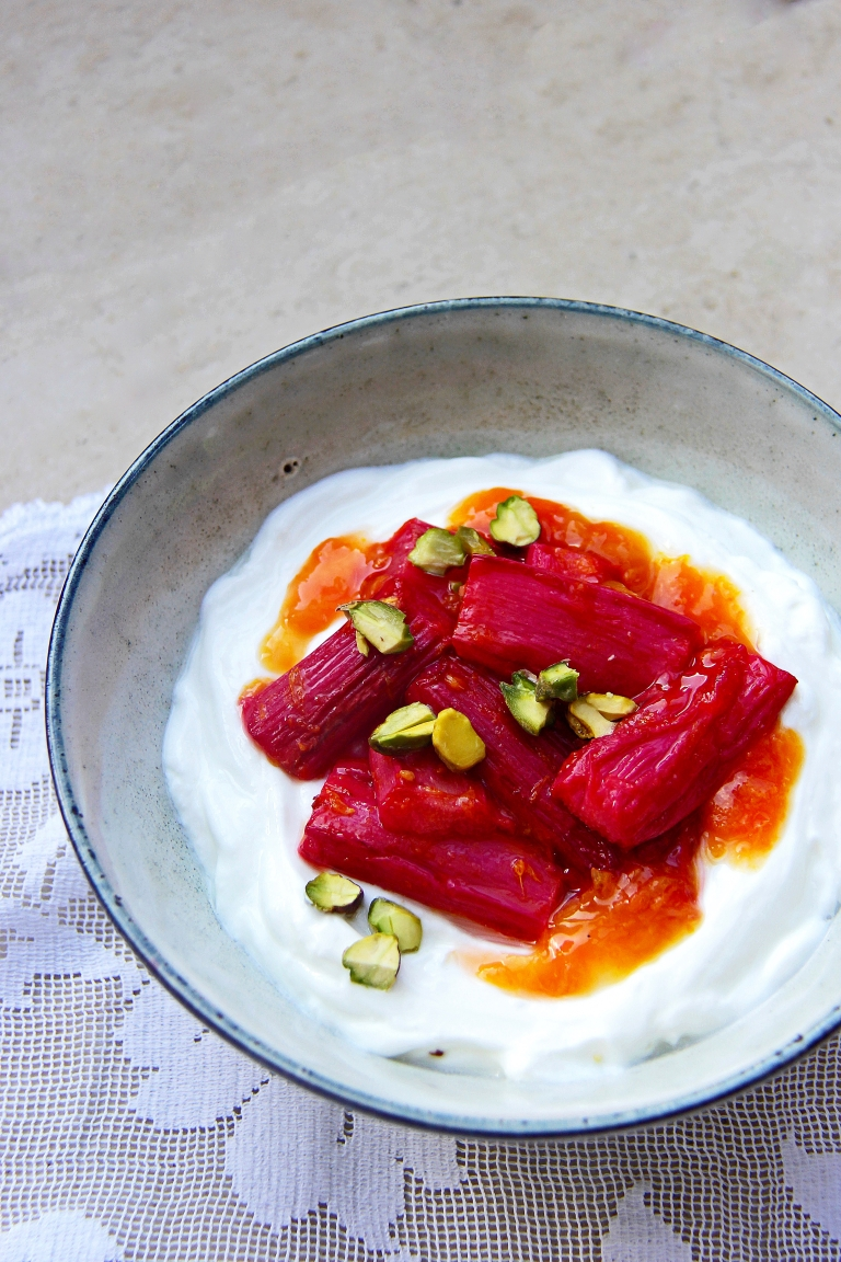 Roasted rhubarb with sticky orange and ginger sauce yoghurt and pistachio nuts healthy breakfast dessert 2