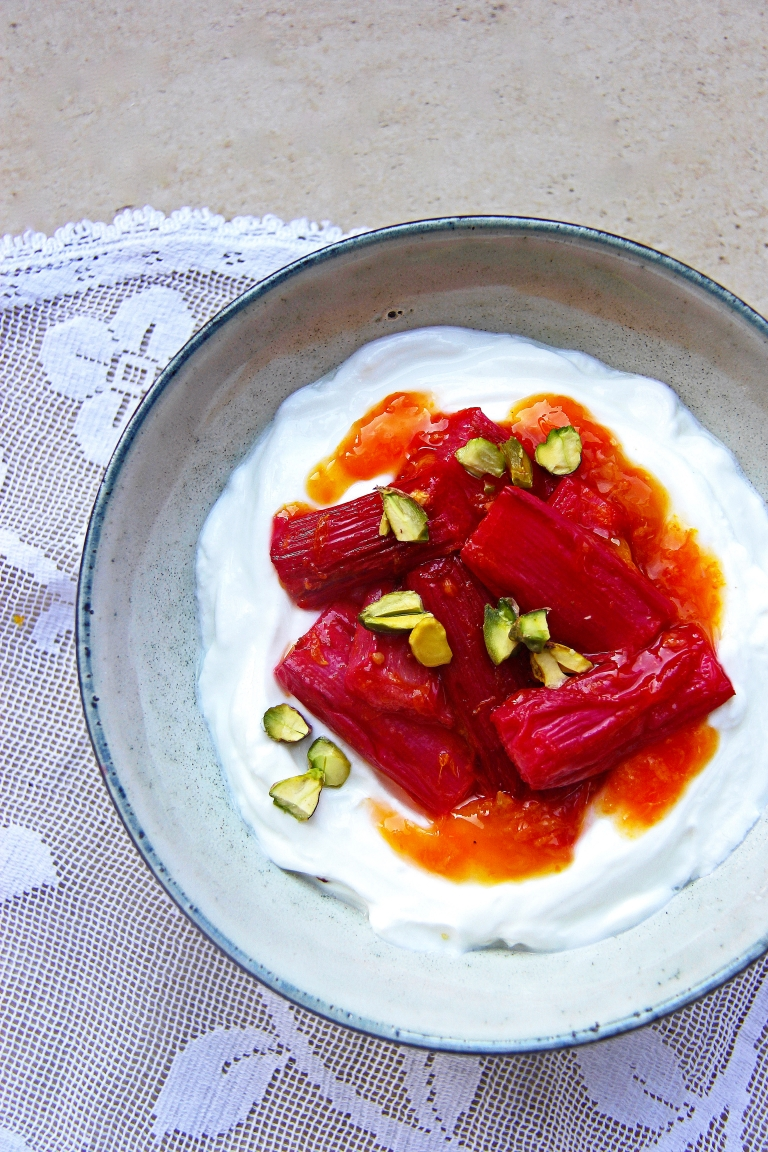 Roasted rhubarb with sticky orange and ginger sauce yoghurt and pistachio nuts healthy breakfast dessert 3