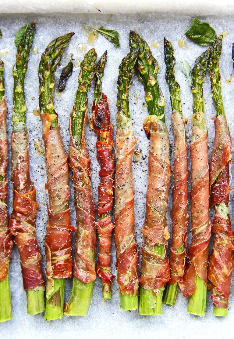 Grilled asparagus wrapped in crispy prosciutto with sage and Parmesan 4