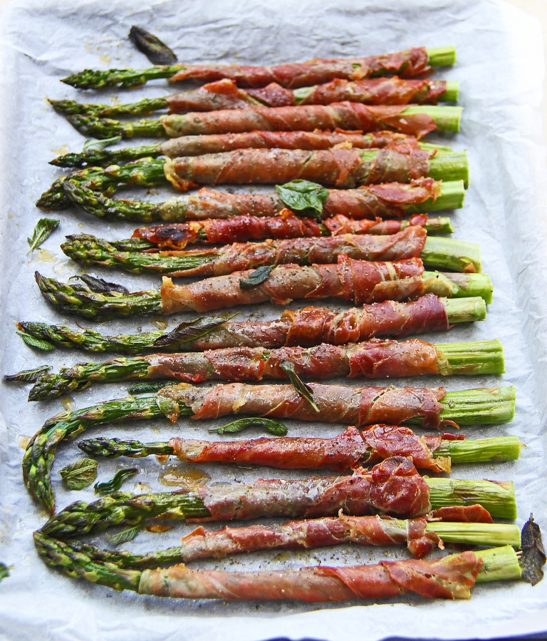Grilled asparagus wrapped in crispy prosciutto with sage and Parmesan 6