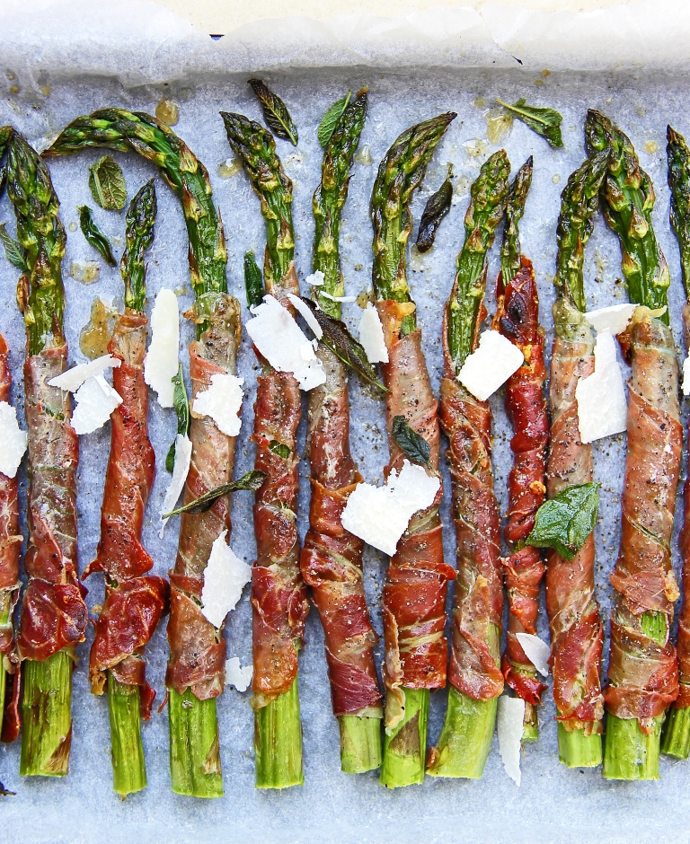 Grilled asparagus wrapped in crispy prosciutto with sage and Parmesan 7