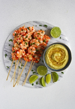 Edamame, miso, ginger and lime dip with zesty garlic, ginger and chilli prawn skewers 3