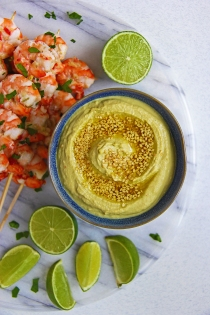 Edamame, miso, ginger and lime dip with zesty garlic, ginger and chilli prawn skewers 5
