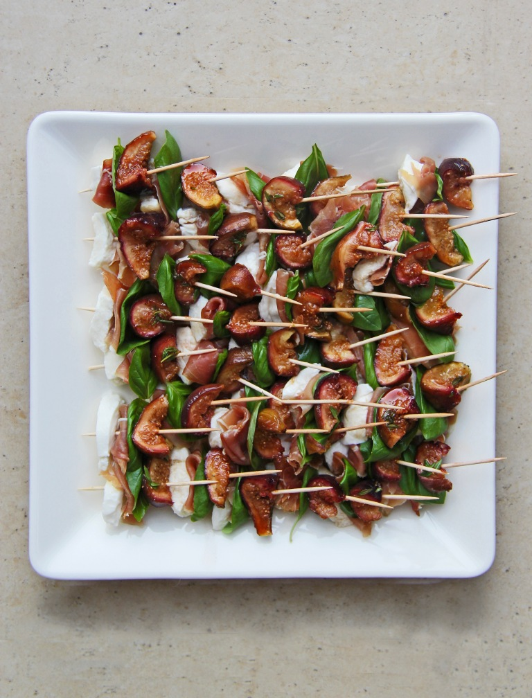 Balsamic, honey and thyme roasted figs, mozzarella, prosciutto and basil canapés 2