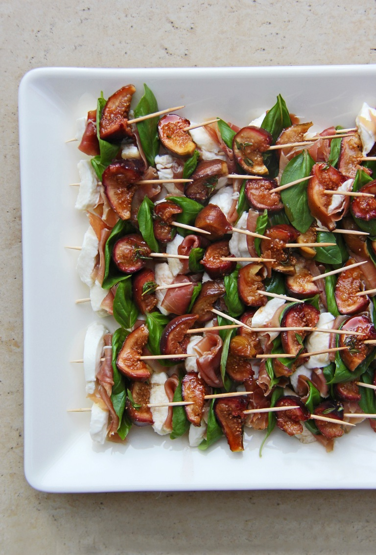Balsamic, honey and thyme roasted figs, mozzarella, prosciutto and basil canapés 3