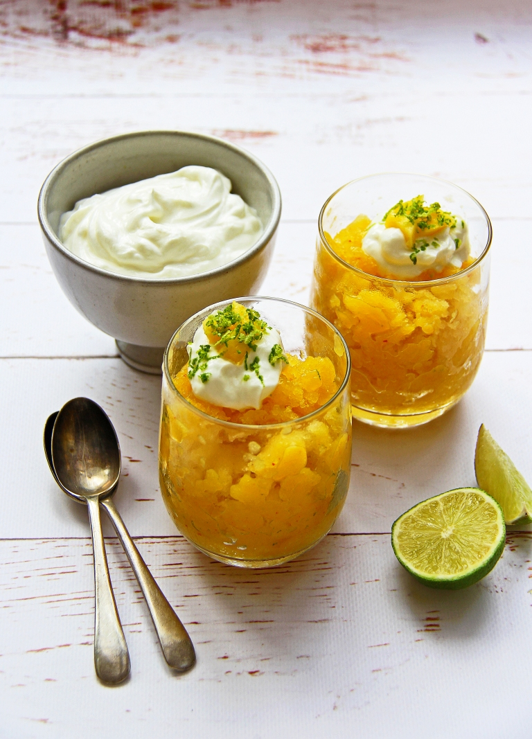 Mango, ginger, lime and chilli coconut water granita healthy dessert 2