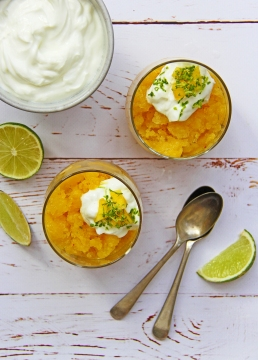 Mango, ginger, lime and chilli coconut water granita healthy dessert 5