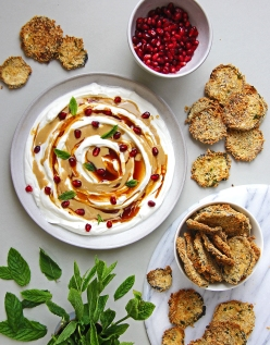Yoghurt, tahini and pomegranate molasses dip with panko aubergine crisps 5