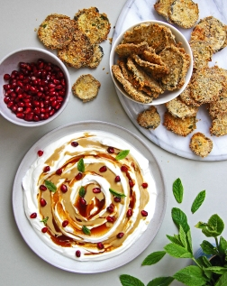 Yoghurt, tahini and pomegranate molasses dip with panko aubergine crisps 6