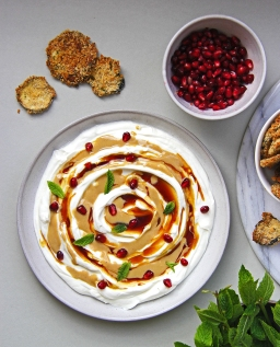 Yoghurt, tahini and pomegranate molasses dip with panko aubergine crisps