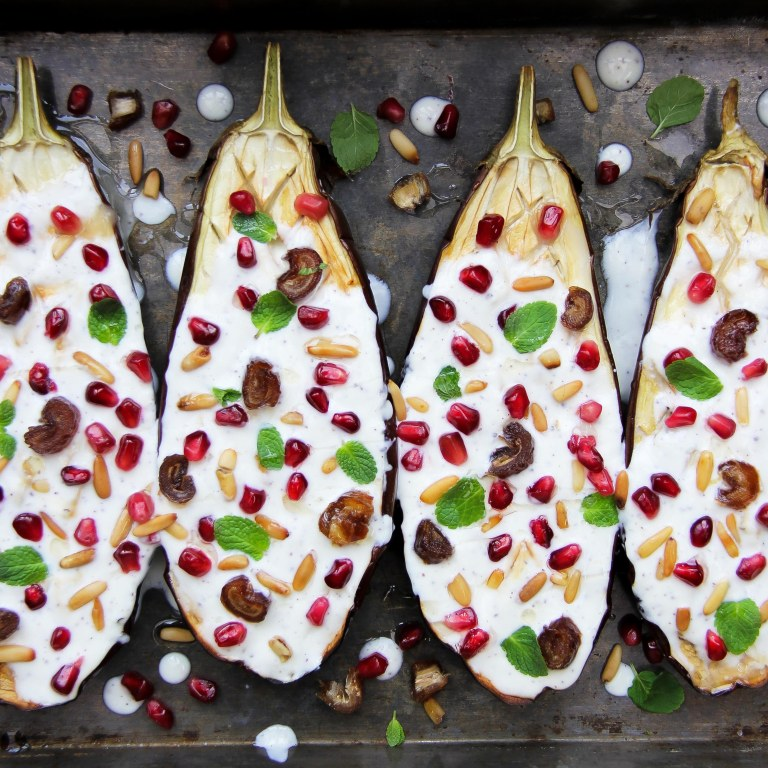 Aubergine with yoghurt sauce, pomegranate, dates and pine nuts 3