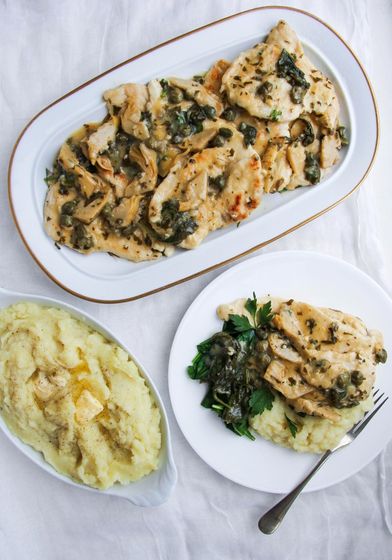 Chicken scaloppine, artichokes, capers and white wine
