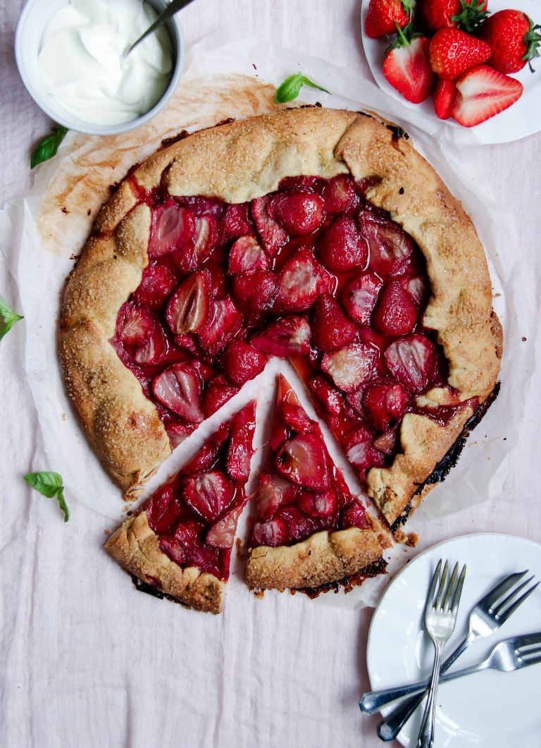 Strawberry Galette with basil creme fraiche-2