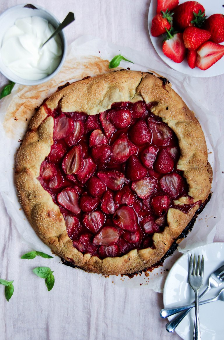 Strawberry Galette with basil creme fraiche